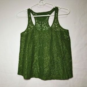 Sheer Lace Tank Top XS Arizona Jeans Co NWOT Green
